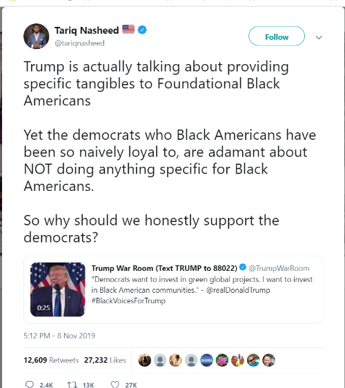 Image result for tariq nasheed tweets about trump tangibles